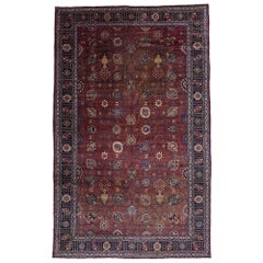 Antique Persian Mashhad Rug with Victorian Style, Persian Palace Size Rug