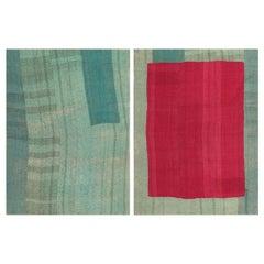 "Antique Persian Mazandaran Kilim Blanket. Size: 7' 3"" x 10' (2.21 m x 3.05"
