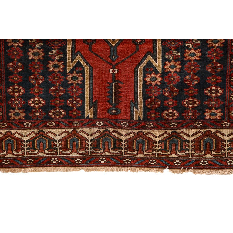 Antique Persian Mazlaghan Carpet in Pure Wool and Vegetable Dyes, circa 1920 For Sale 5