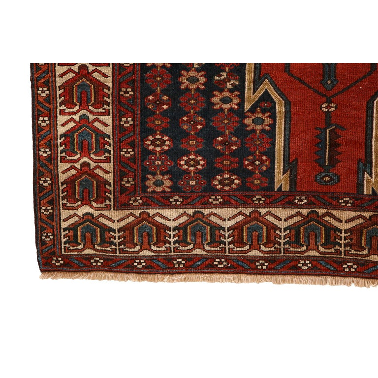 Antique Persian Mazlaghan Carpet in Pure Wool and Vegetable Dyes, circa 1920 For Sale 6