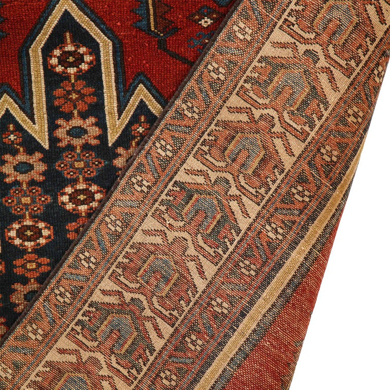 Antique Persian Mazlaghan Carpet in Pure Wool and Vegetable Dyes, circa 1920 For Sale 9
