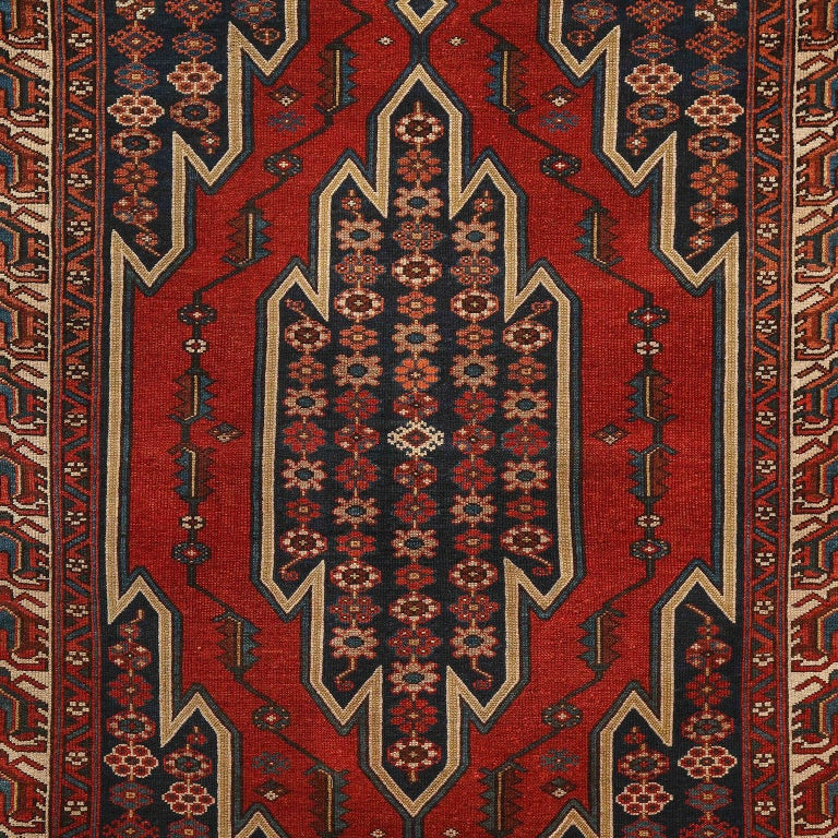 Vegetable Dyed Antique Persian Mazlaghan Carpet in Pure Wool and Vegetable Dyes, circa 1920 For Sale