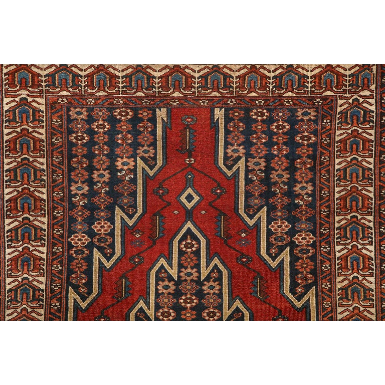 Antique Persian Mazlaghan Carpet in Pure Wool and Vegetable Dyes, circa 1920 In Good Condition For Sale In New York, NY