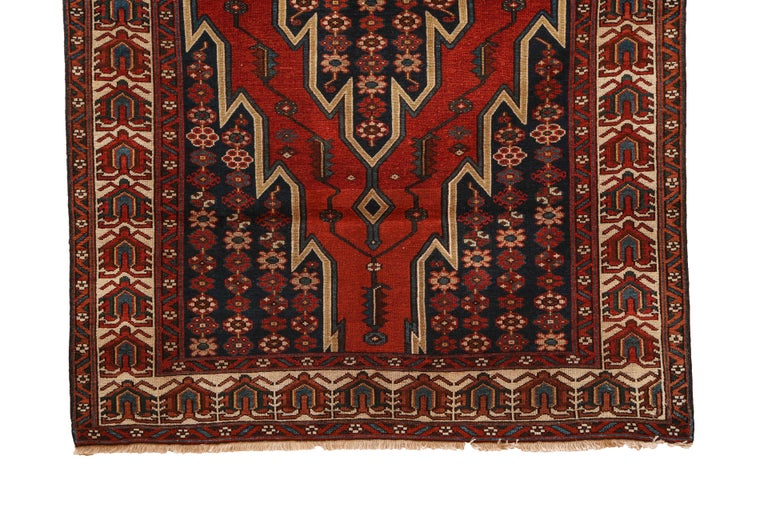 Antique Persian Mazlaghan Carpet in Pure Wool and Vegetable Dyes, circa 1920 For Sale 1