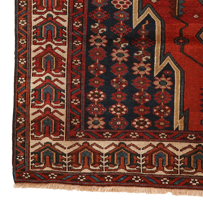 Antique Persian Mazlaghan Carpet in Pure Wool and Vegetable Dyes, circa 1920 For Sale 2
