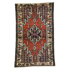Antique Persian Mazlaghan Hamadan Rug with Modern Tribal Style