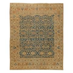 Antique Persian Meshad Botanic Golden Beige, Brown & Black Handwoven Wool Rug