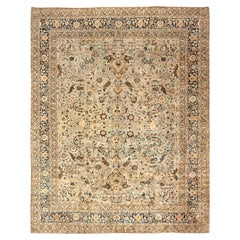 Antique Persian Meshad Rug Celadon and Midnight Blue Handwoven Wool Rug
