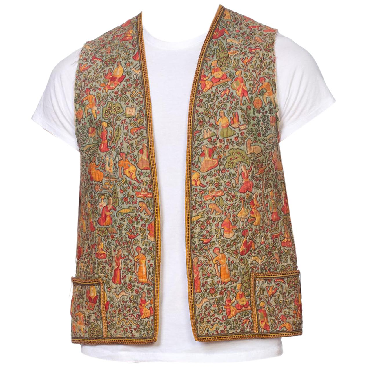 Vintage Ethnic Sequin Embroidered Bead Floral Black Waistcoat TOP Hippy Jacket