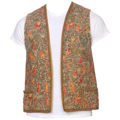 Antique Persian Metal Embroidered Folkloric Scenic Printed Vest