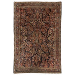 Antique Persian Mohajeran Sarouk Rug with French Baroque Victorian Style