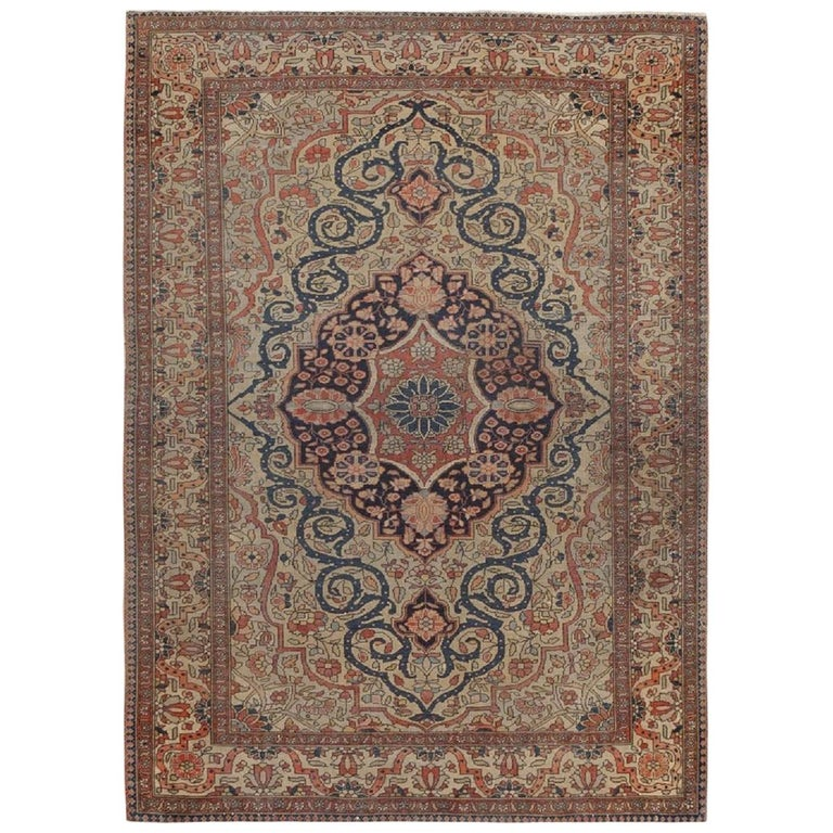 Antique Persian Mohtasham Kashan Rug. Size: 2 ft 10 in x 3 ft 10 in For Sale