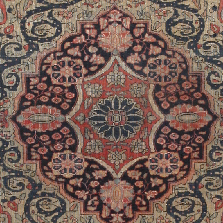 Antique Persian Mohtasham Kashan rug, origin: Persia, circa late 19th century. Size: 2 ft. 10 in x 3 ft. 10 in (0.86 m x 1.17 m)  Drawn in a flawless curvilinear style with an Islimi design, this exquisite and extremely finely woven antique