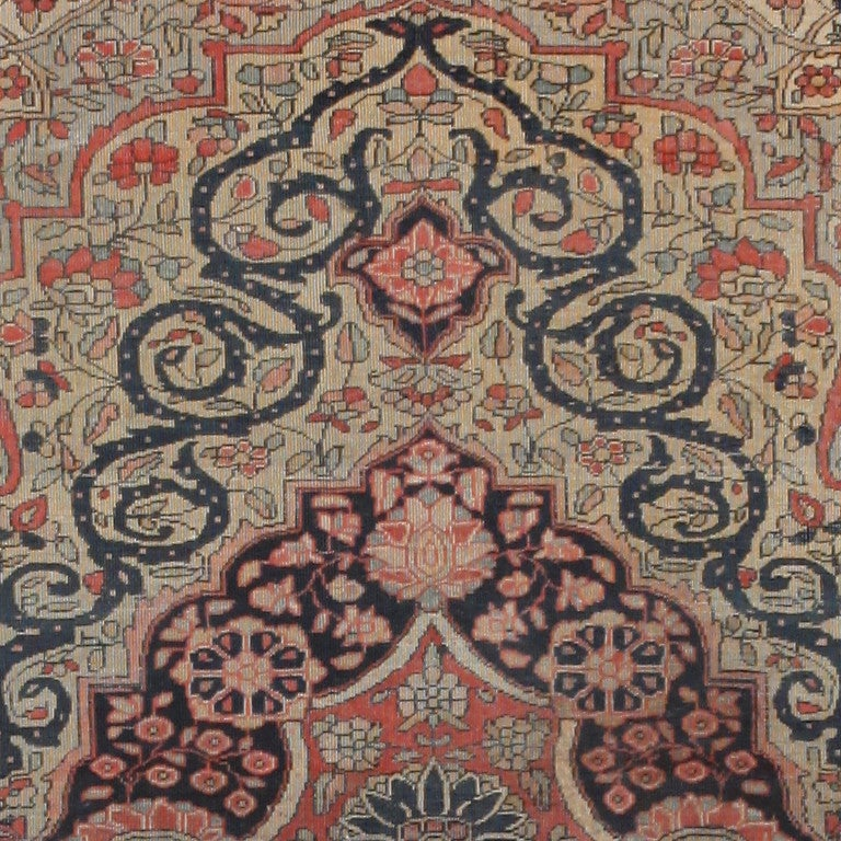 Hand-Knotted Antique Persian Mohtasham Kashan Rug. Size: 2 ft 10 in x 3 ft 10 in For Sale