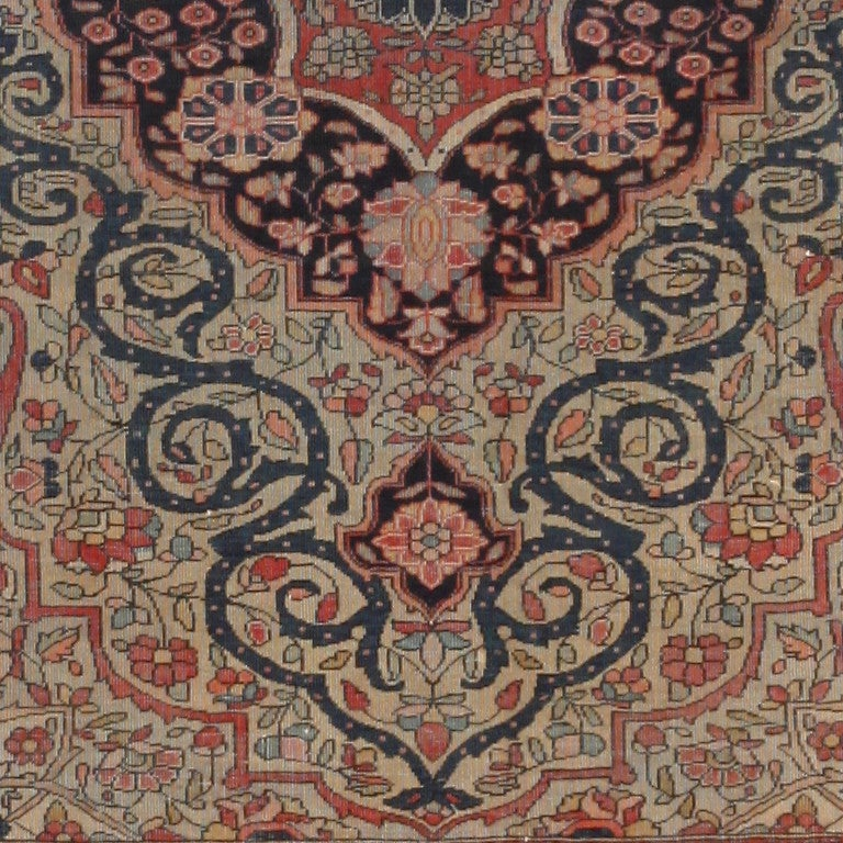 19th Century Antique Persian Mohtasham Kashan Rug. Size: 2 ft 10 in x 3 ft 10 in For Sale