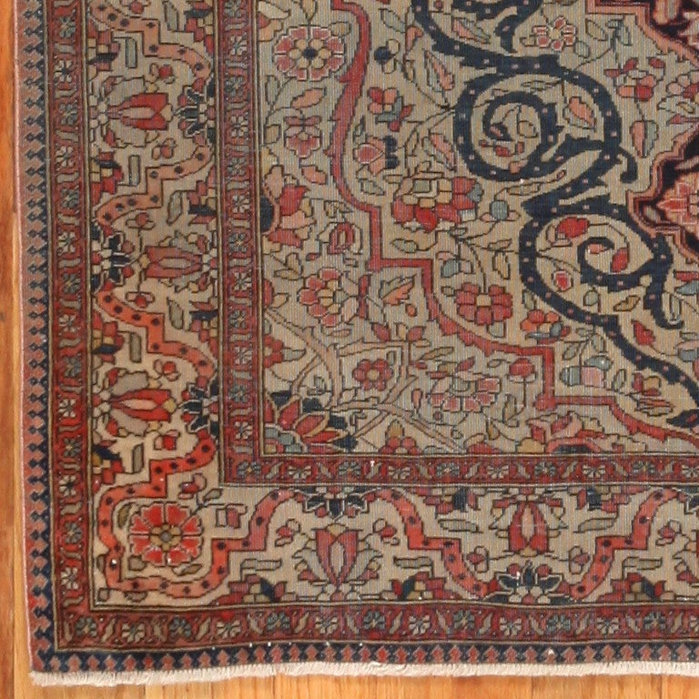Wool Antique Persian Mohtasham Kashan Rug. Size: 2 ft 10 in x 3 ft 10 in For Sale