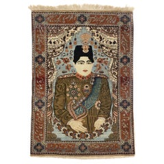 Antique Persian Mohtashem Kashan Pictorial Rug, King Ahmad Shah Qajar Tapestry