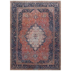 Antique Persian Mohtashem Kashan Rug. Size: 10 ft 8 in x 14 ft 6 in