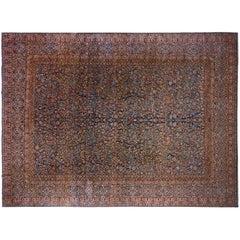 Antique Persian Mohtesham Kashan Oriental Carpet, Large Size, with Weaver's Mark