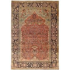 Antique Persian Mohtesham Kashan Rug, Small Size with Lantern Design, circa 1890