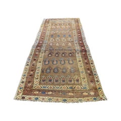 Antique Persian North West Boteh Design Camel Hair Wide Runner Hand Knotted Rug