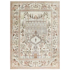 Antique Persian Palace Scene Tabriz Rug. Size: 10 ft 10 in x 15 ft 6 in
