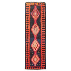 Antique Persian Pink and Orange Wool Kilim Rug with Warding Eye Motifs