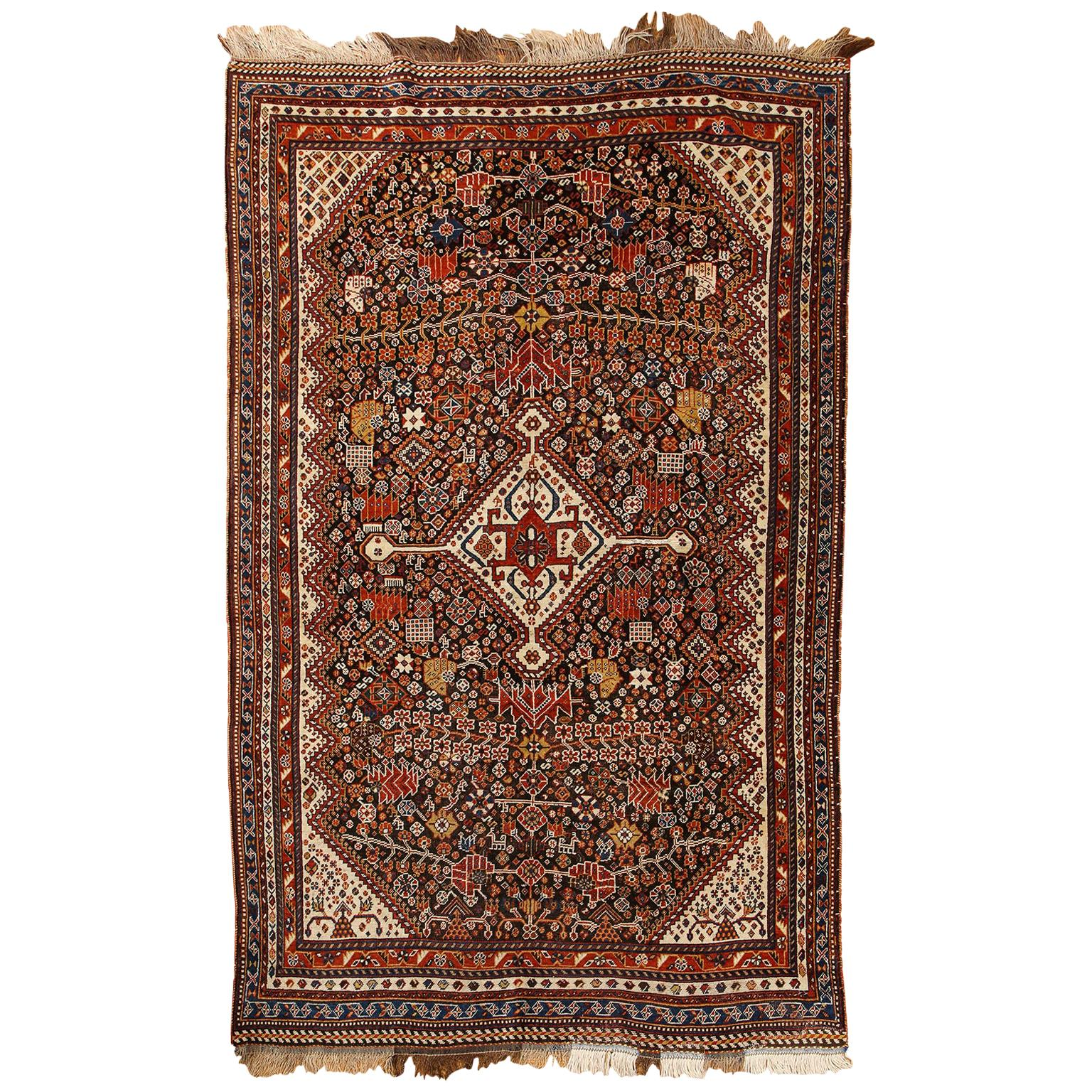 Antique Persian Qashqai Kashkooli Carpet in Pure Wool and Vegetal Dyes