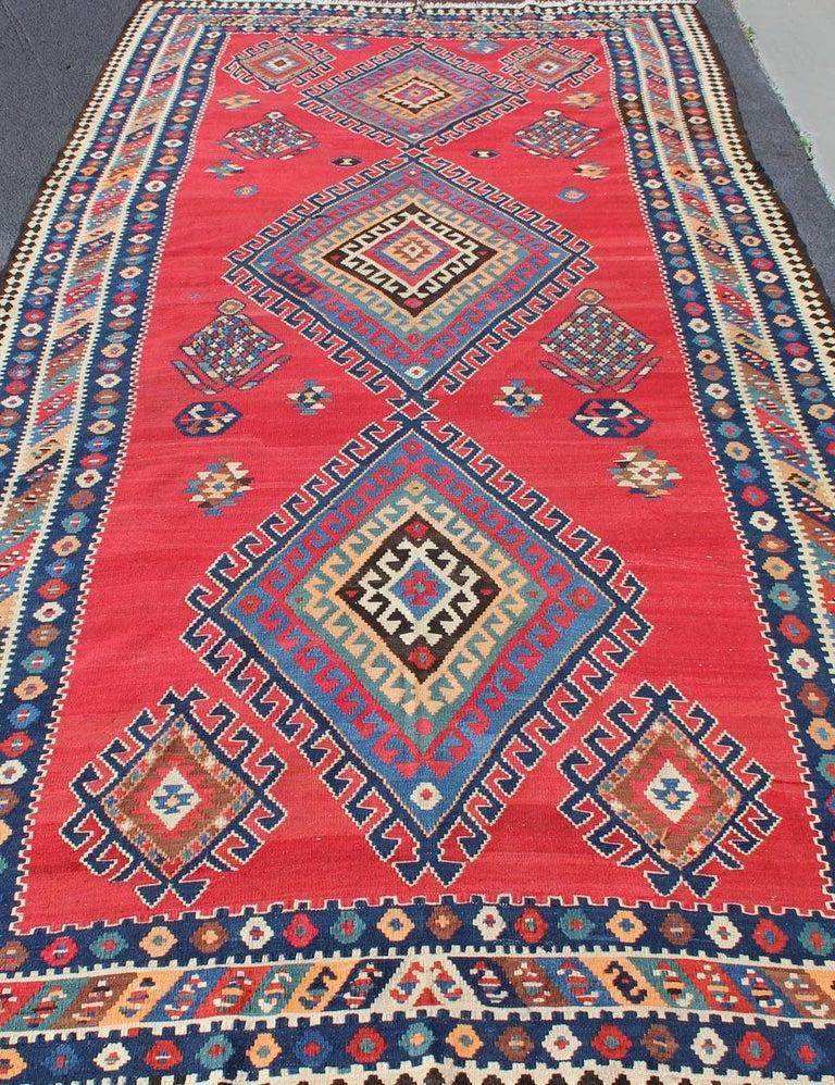 Antique Persian Qashqai Kilim Gallery Rug with Geometric Diamond Design For Sale 5