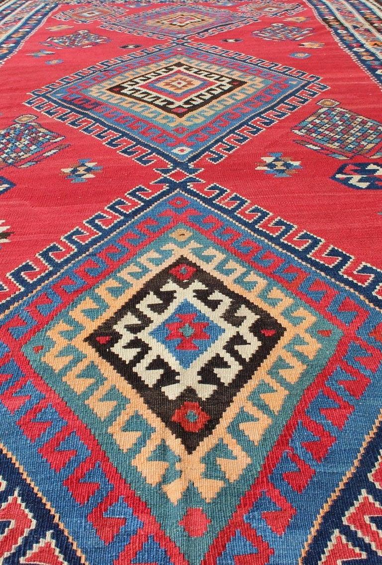 Antique Persian Qashqai Kilim Gallery Rug with Geometric Diamond Design For Sale 6
