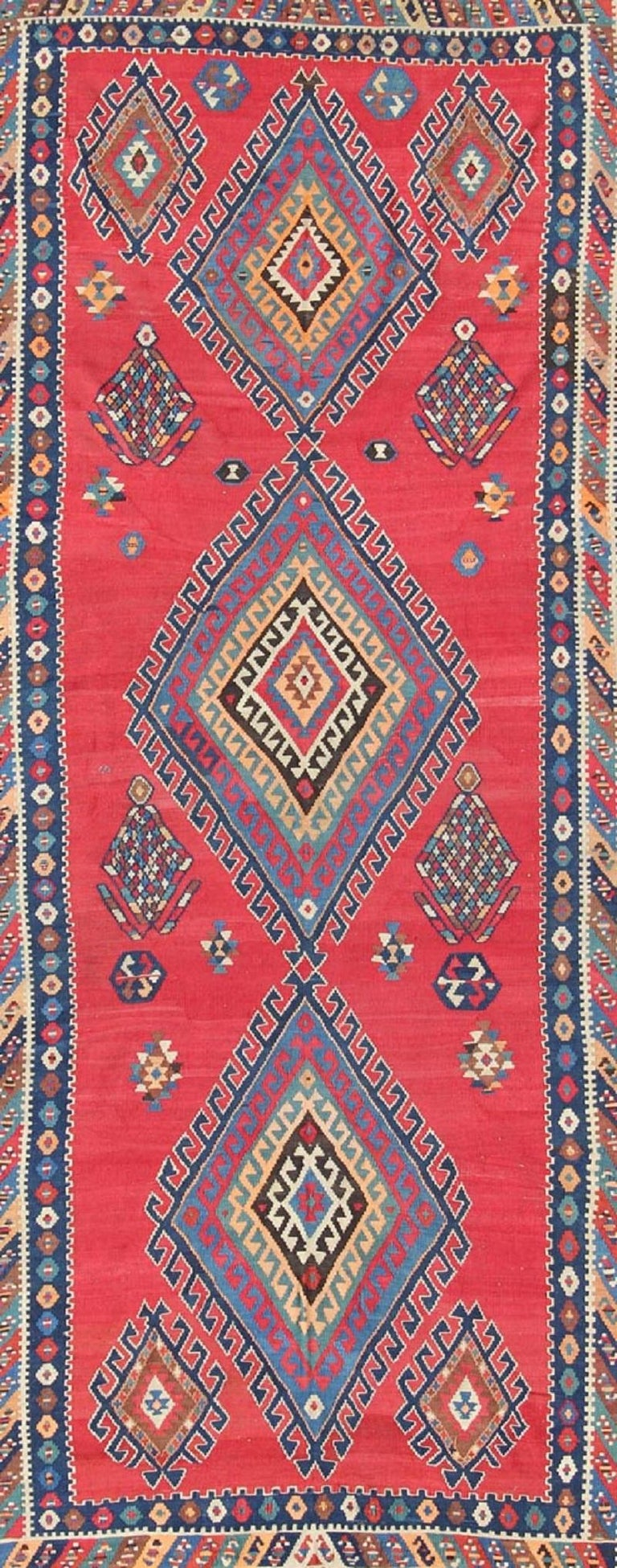 Hand-Knotted Antique Persian Qashqai Kilim Gallery Rug with Geometric Diamond Design For Sale