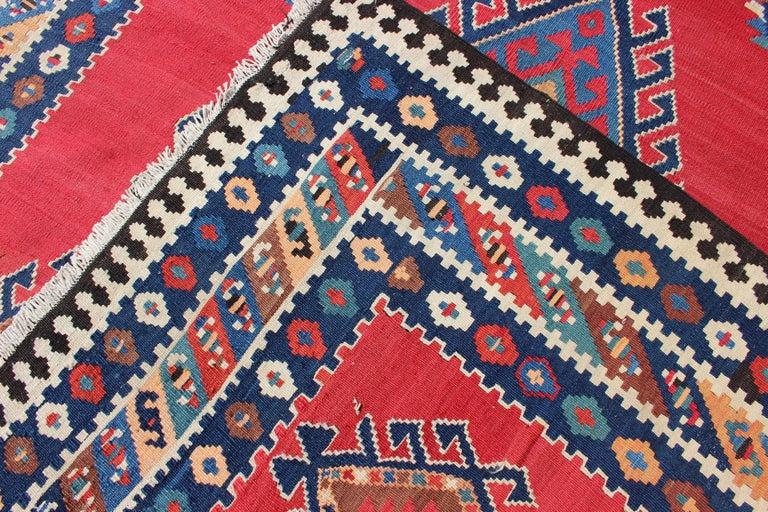 Wool Antique Persian Qashqai Kilim Gallery Rug with Geometric Diamond Design For Sale