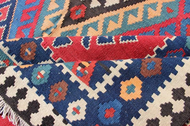 Antique Persian Qashqai Kilim Gallery Rug with Geometric Diamond Design For Sale 1