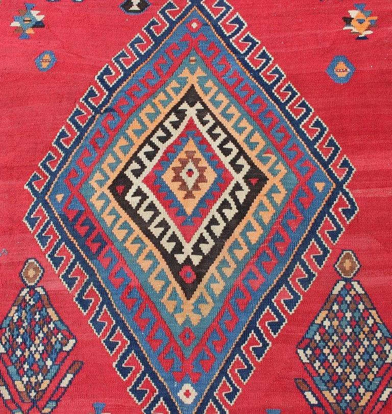 Antique Persian Qashqai Kilim Gallery Rug with Geometric Diamond Design For Sale 2