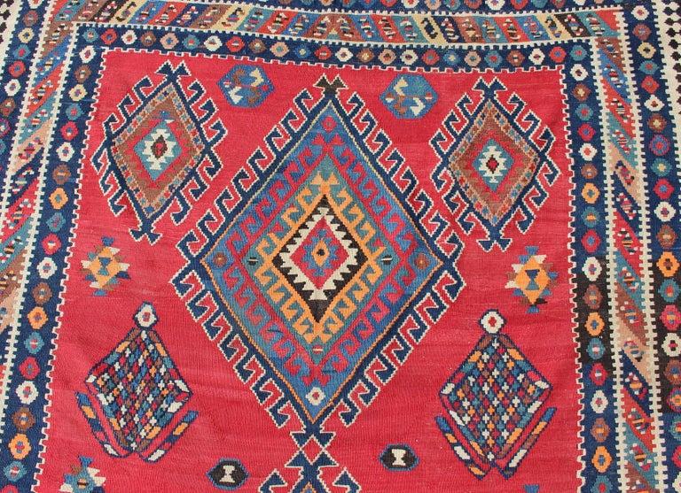 Antique Persian Qashqai Kilim Gallery Rug with Geometric Diamond Design For Sale 3
