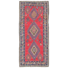 Antique Persian Qashqai Kilim Gallery Rug with Geometric Diamond Design
