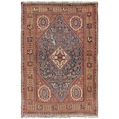 Antique Persian Qashqai Rug with Central Medallion in Ink Blue and Faded Red