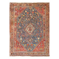 Antique Persian Qashqai Rug with Medallion Design in Rich Colors, Blue and Red