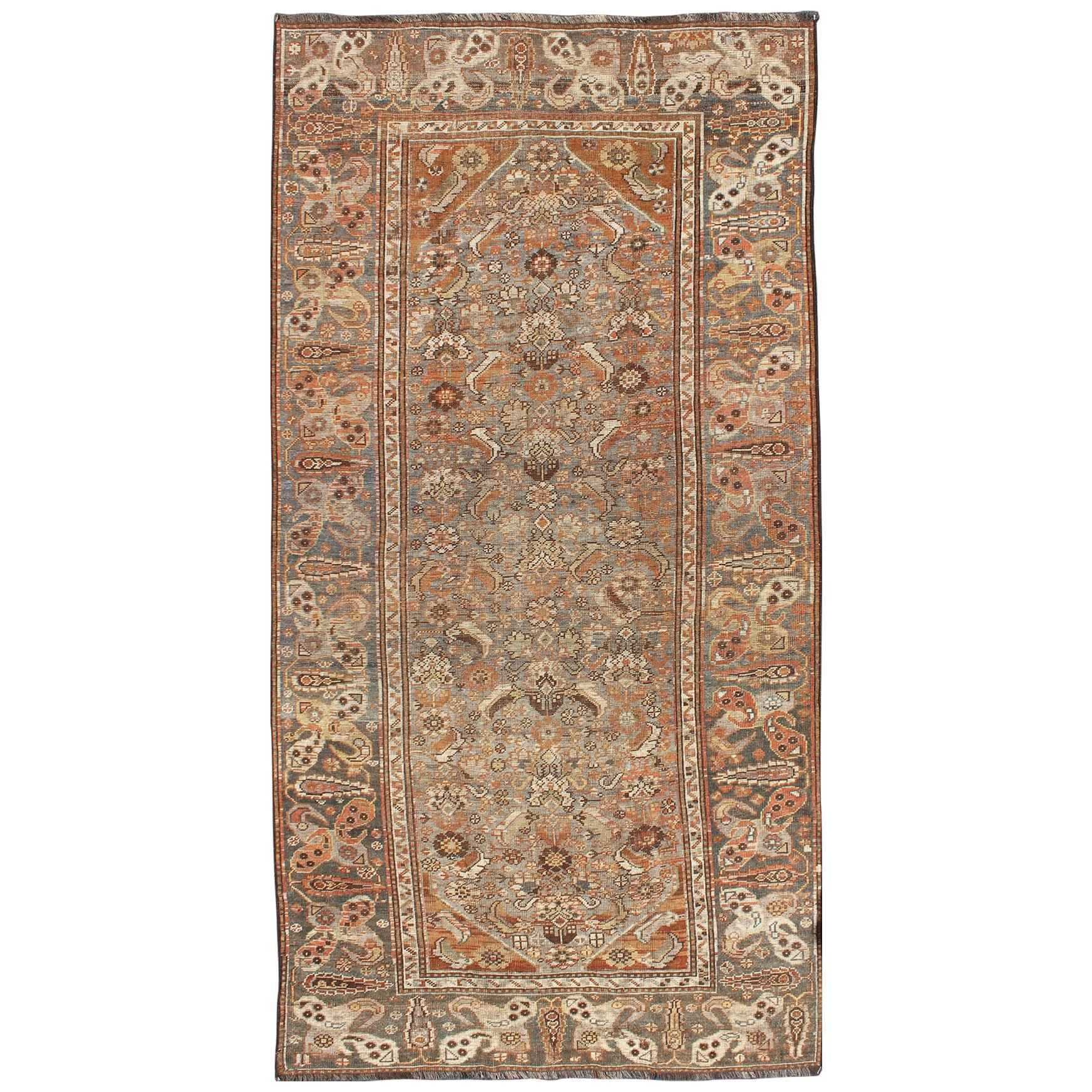 Antique Persian Qashqai Small Gallery Rug with Expansive Sub-Geometric Design