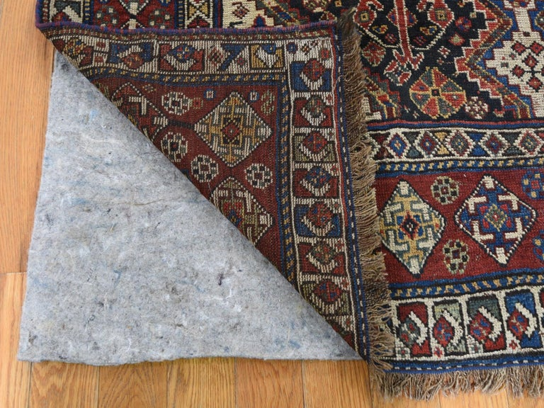 Medieval Antique Persian Qashqai Tribal Geometric Even Wear Hand Knotted Rug For Sale