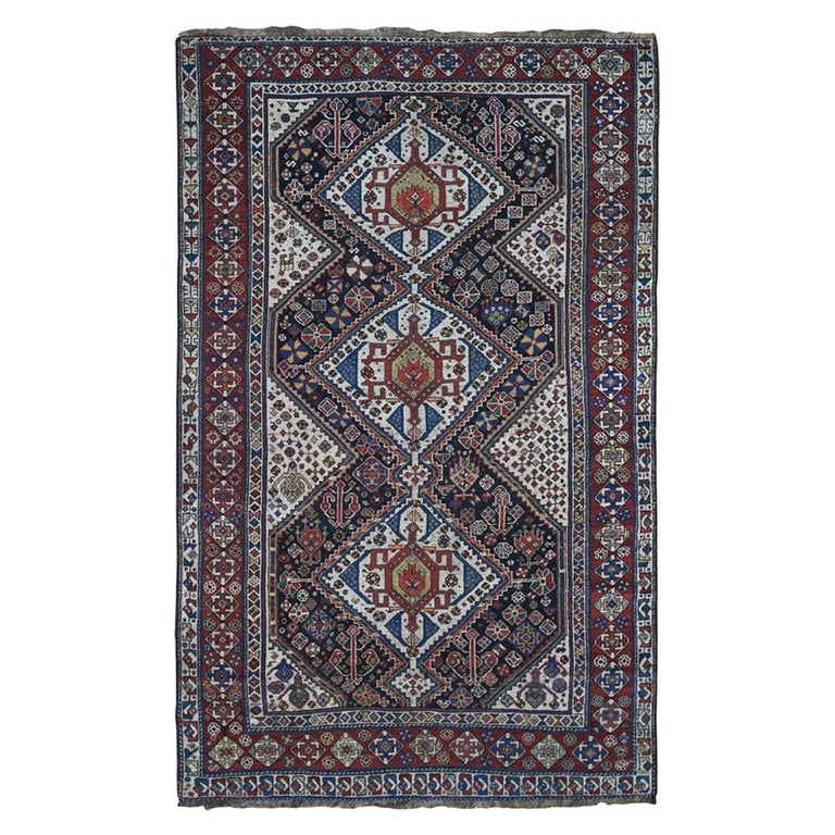 Antique Persian Qashqai Tribal Geometric Even Wear Hand Knotted Rug For Sale