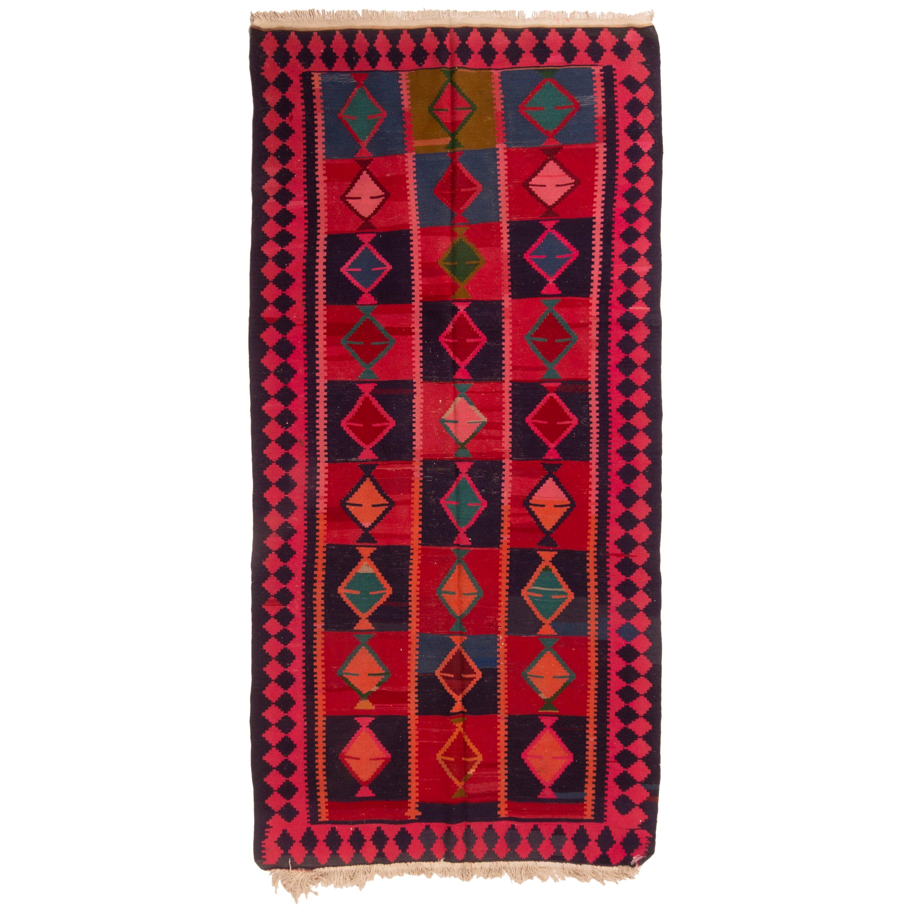 Antique Persian Red and Blue Wool Geometric Pattern Kilim Rug