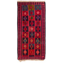 Antique Persian Red and Blue Wool Kilim Rug