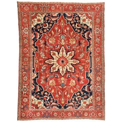 Antique Vintage Persian Red Navy Blue Ivory Serapi Rug circa 1900-1910s
