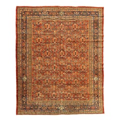 Antique Persian Red Floral Mahal Ziegler Carpet, circa 1880-1900s