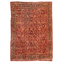 Oversize Antique Persian Red Gold Floral Mahal Ziegler Large Area Rug c. 1930s