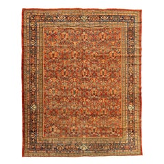 Antique Persian Red Gold Floral Mahal Ziegler Rug, c. 1880-1900s