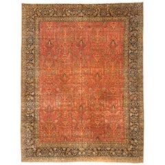 Antique Persian Red Gold Navy Blue Large Oversize Tabriz Rug