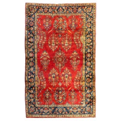 Antique Persian Red Gold Navy Manchester Wool Kashan Small Area Rug, circa 1920s