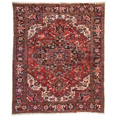 Antique Vintage Persian Red Ivory Navy Blue Square Heriz Rug circa 1950s